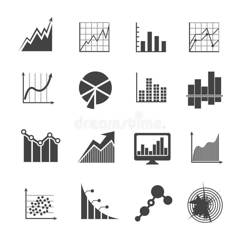 De pictogrammen van bedrijfsgegevensanalytics Metingen en financiële diagrammen vectortekens royalty-vrije illustratie