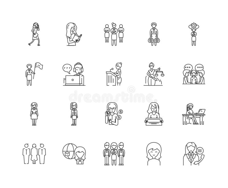 De pictogrammen van de bedrijfsvrouwenlijn, tekens, vectorreeks, het concept van de overzichtsillustratie stock illustratie