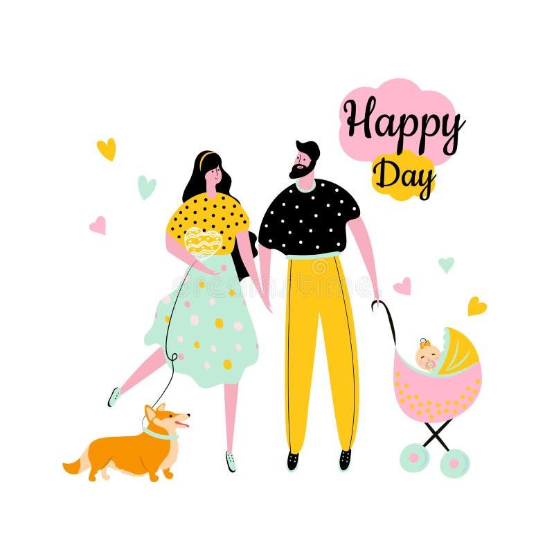 De pictogrammen van de beeldverhaalstijl van een gelukkige man en een vrouw met een meisje in een vervoer en een corgi royalty-vrije illustratie