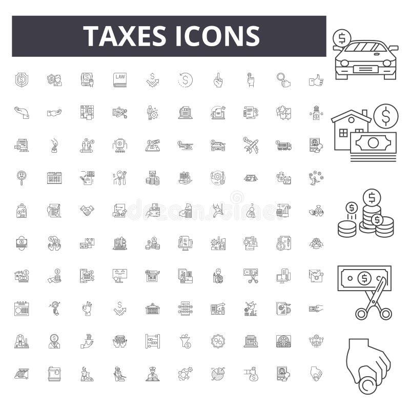 De pictogrammen van de belastingenlijn, tekens, vectorreeks, het concept van de overzichtsillustratie vector illustratie
