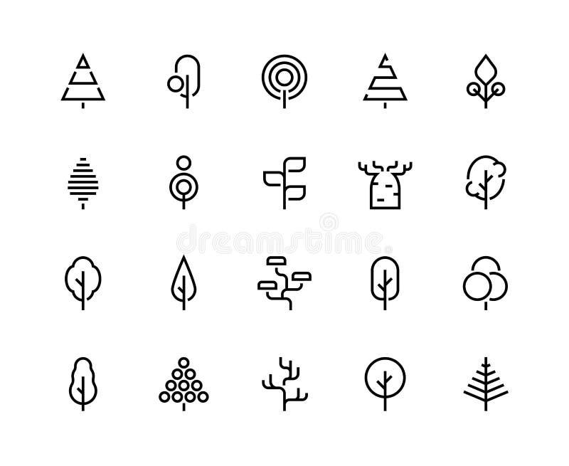 De pictogrammen van de bomenlijn Eenvoudige minimalistische installaties, organische geometrische abstracte vormen van bladeren e royalty-vrije illustratie