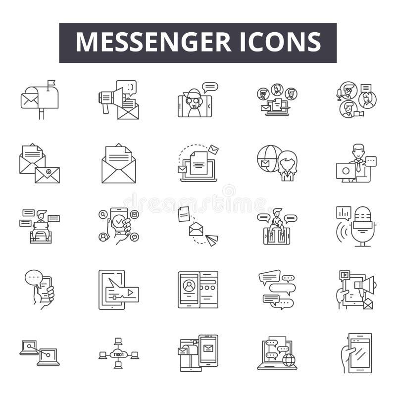 De pictogrammen van de boodschapperslijn, tekens, vectorreeks, het concept van de overzichtsillustratie vector illustratie