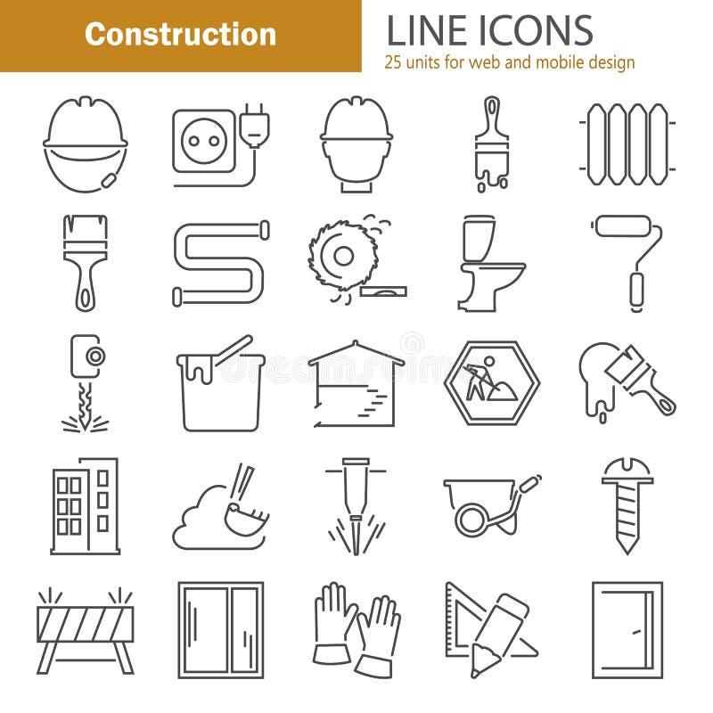De pictogrammen van de bouwlijn voor Web en mobiel ontwerp worden geplaatst dat vector illustratie