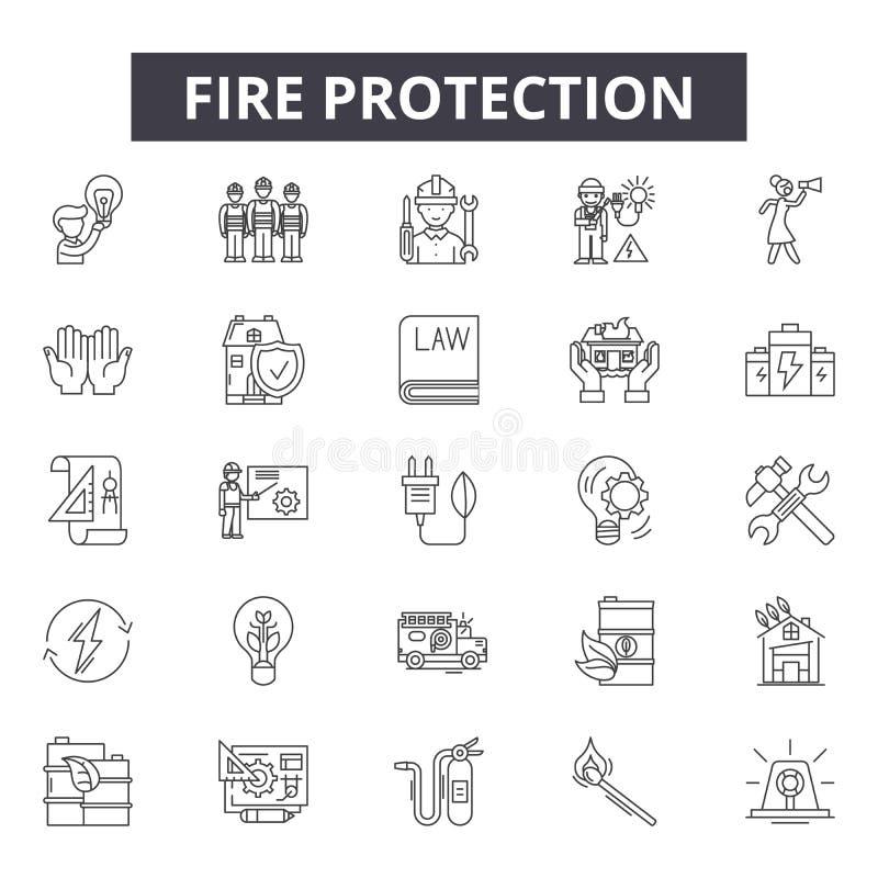 De pictogrammen van de brandbeveiliginglijn voor Web en mobiel ontwerp De tekens van de Editableslag Het concept van het brandbev vector illustratie