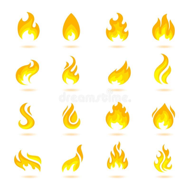 De Pictogrammen van brandvlammen