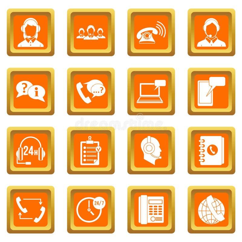 De pictogrammen van call centresymbolen geplaatst oranje royalty-vrije illustratie