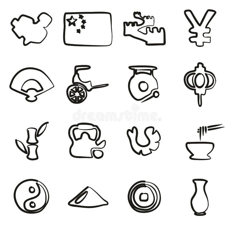 De Pictogrammen van China Uit de vrije hand vector illustratie