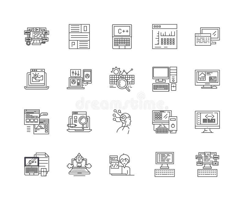 De pictogrammen van de codagelijn, tekens, vectorreeks, het concept van de overzichtsillustratie vector illustratie
