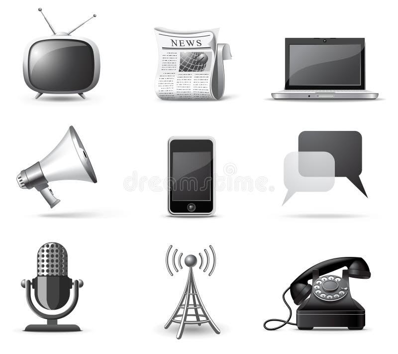 De pictogrammen van Communcication | B&W reeks stock illustratie