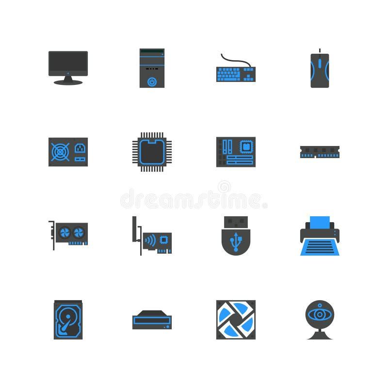 De pictogrammen van de computerhardware geplaatst vlakke stijl vectorillustratie stock illustratie