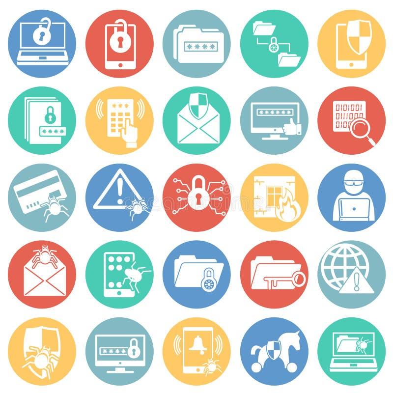 De pictogrammen van de Cyberveiligheid op kleur worden geplaatst omcirkelt witte achtergrond voor grafisch en Webontwerp dat Eenv vector illustratie