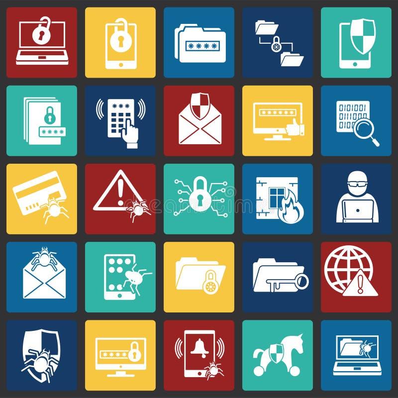 De pictogrammen van de Cyberveiligheid op kleur worden geplaatst regelt achtergrond voor grafisch en Webontwerp dat Eenvoudig vec royalty-vrije illustratie
