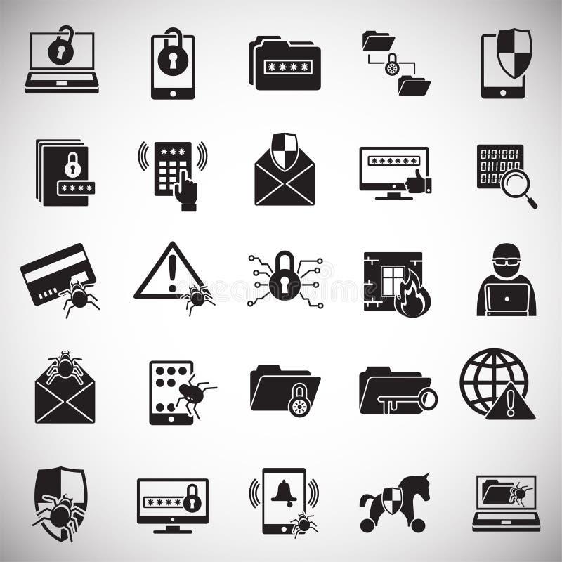 De pictogrammen van de Cyberveiligheid op witte achtergrond voor grafisch en Webontwerp dat worden geplaatst Eenvoudig vectorteke vector illustratie