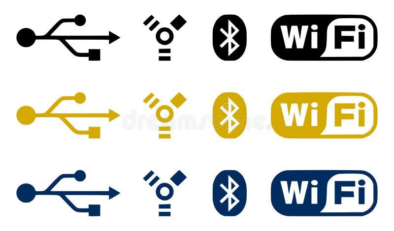 De pictogrammen van de aansluting stock illustratie