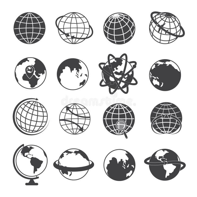 De Pictogrammen van de aardebol op Witte Achtergrond worden geplaatst die stock illustratie