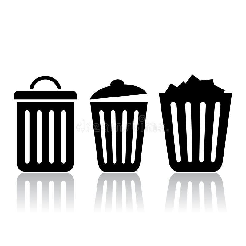 De pictogrammen van de afvalbak stock illustratie