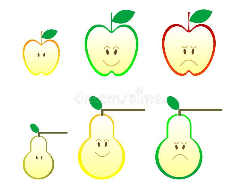 De pictogrammen van de appel en van de peer stock illustratie