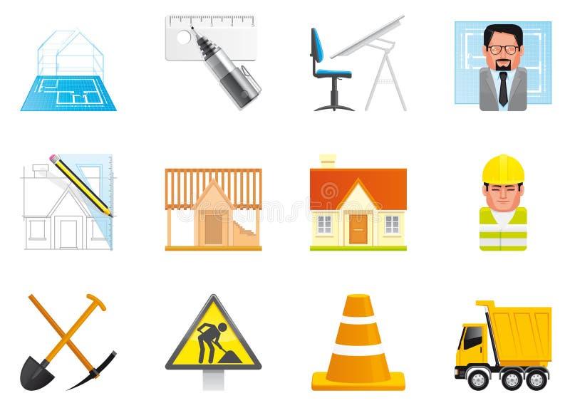 De pictogrammen van de architectuur en van de bouw stock illustratie