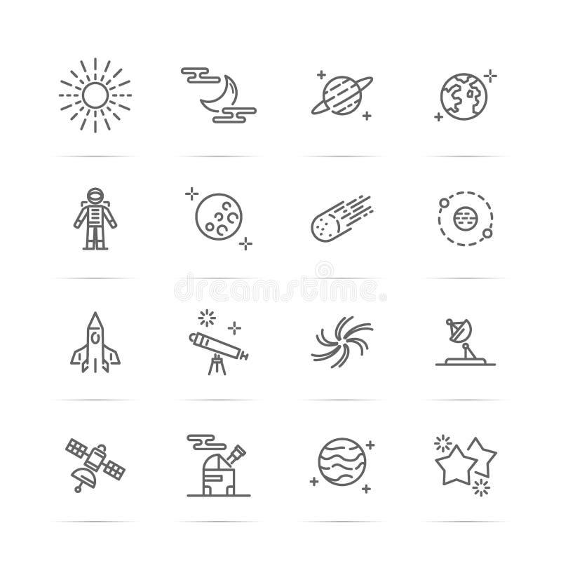 De pictogrammen van de astronomielijn stock illustratie