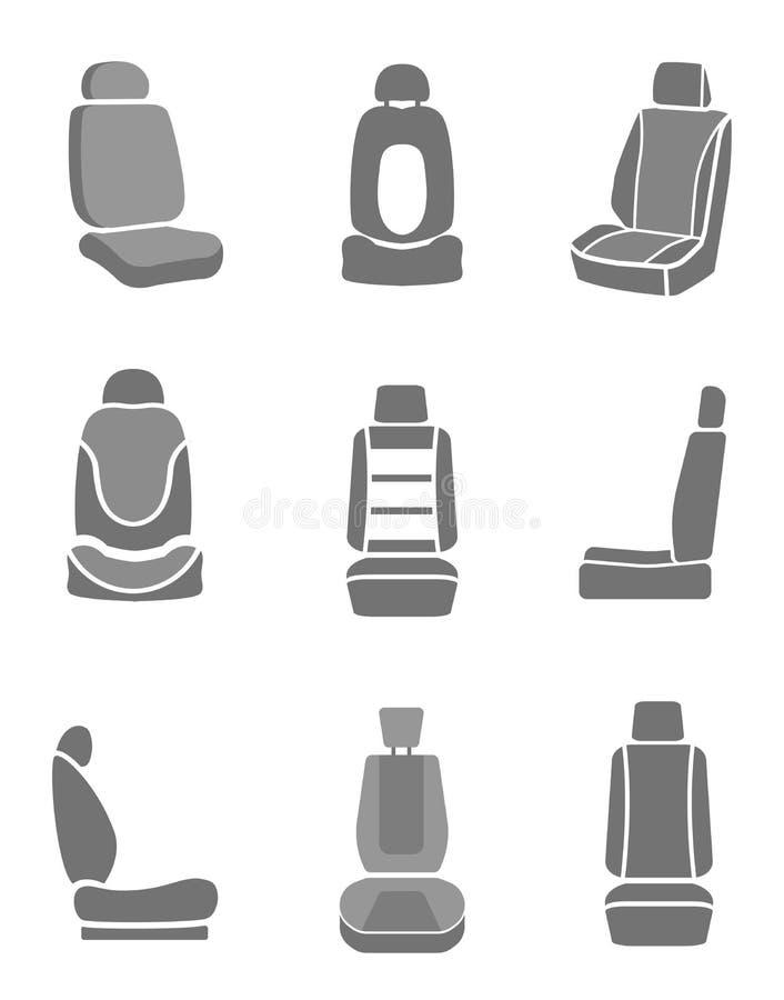 De pictogrammen van de autospiegel stock illustratie