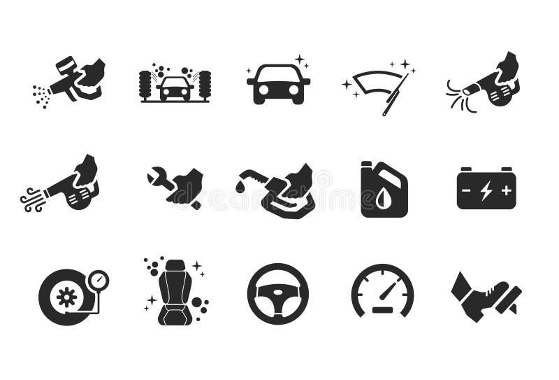 De pictogrammen van de autozorg - Illustratie royalty-vrije illustratie