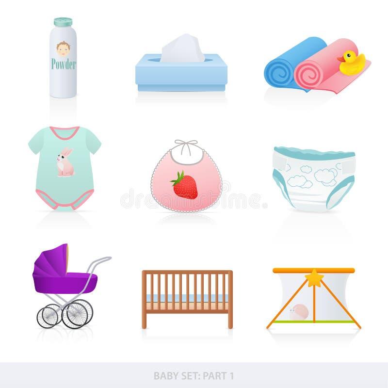 De pictogrammen van de baby. Deel 1 stock illustratie