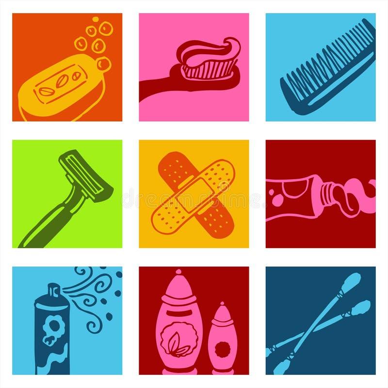 De pictogrammen van de badkamers royalty-vrije illustratie