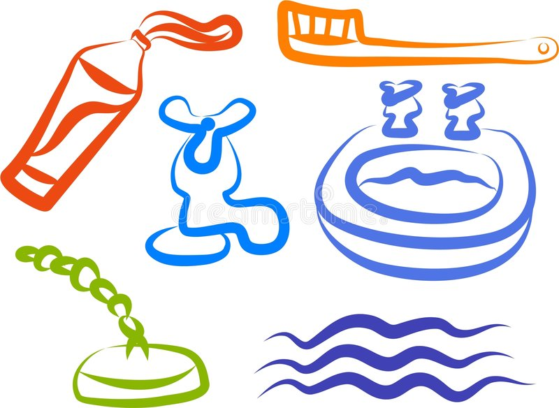 De Pictogrammen van de badkamers stock illustratie