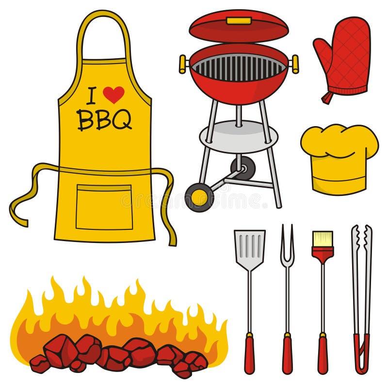 De pictogrammen van de barbecue stock illustratie