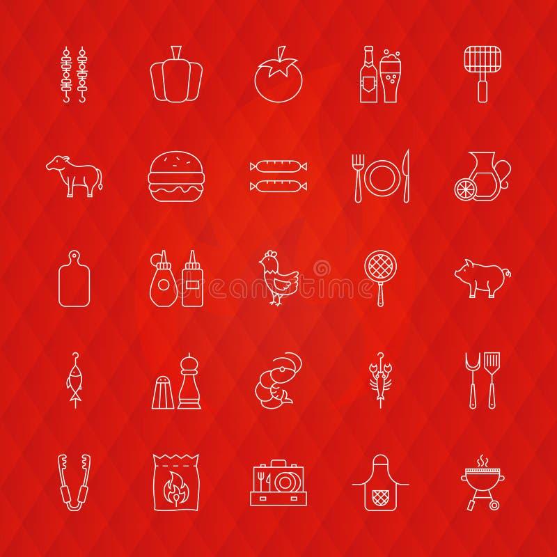 De Pictogrammen van de barbecuelijn royalty-vrije illustratie