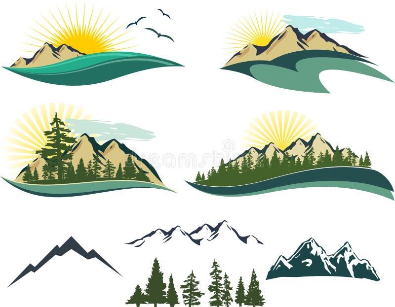 De Pictogrammen van de berg stock illustratie