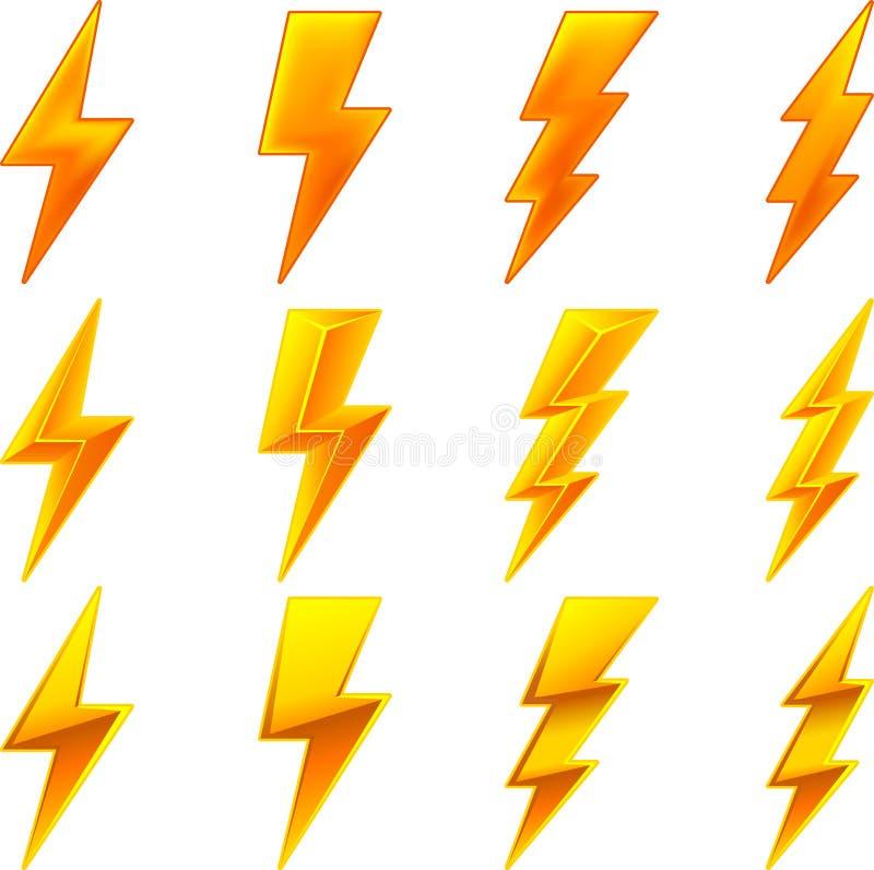 De pictogrammen van de bliksem