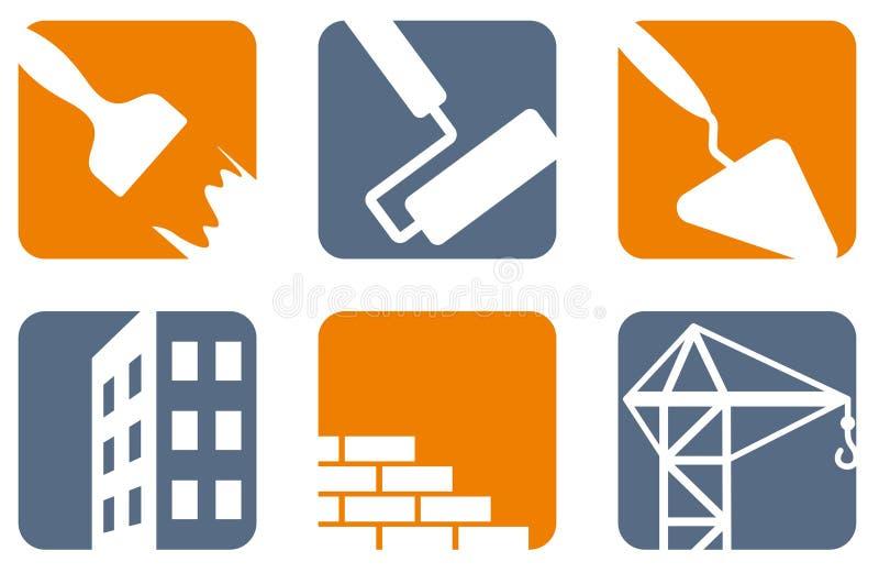 De pictogrammen van de bouw vector illustratie