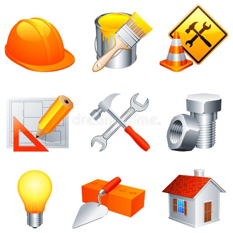 De pictogrammen van de bouw. royalty-vrije illustratie