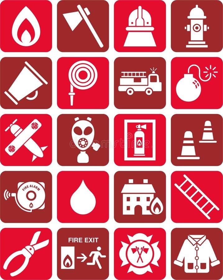 De pictogrammen van de brandweerman vector illustratie