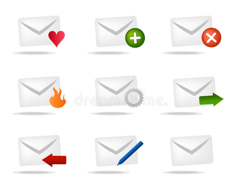 De pictogrammen van de brievenbus royalty-vrije illustratie