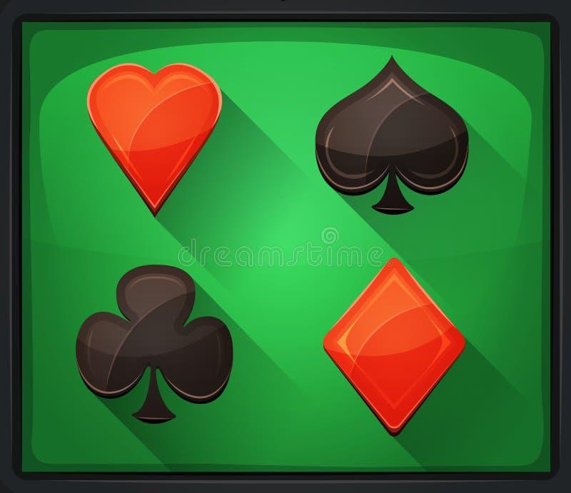 De Pictogrammen van de casinopook op Groen Tapijt stock illustratie