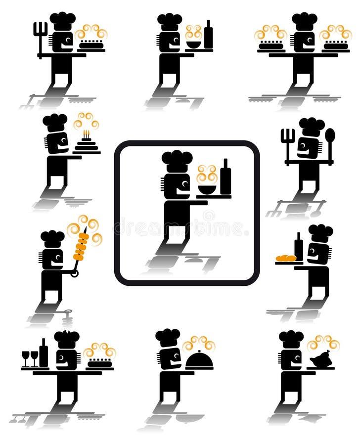 De pictogrammen van de chef-kok vector illustratie