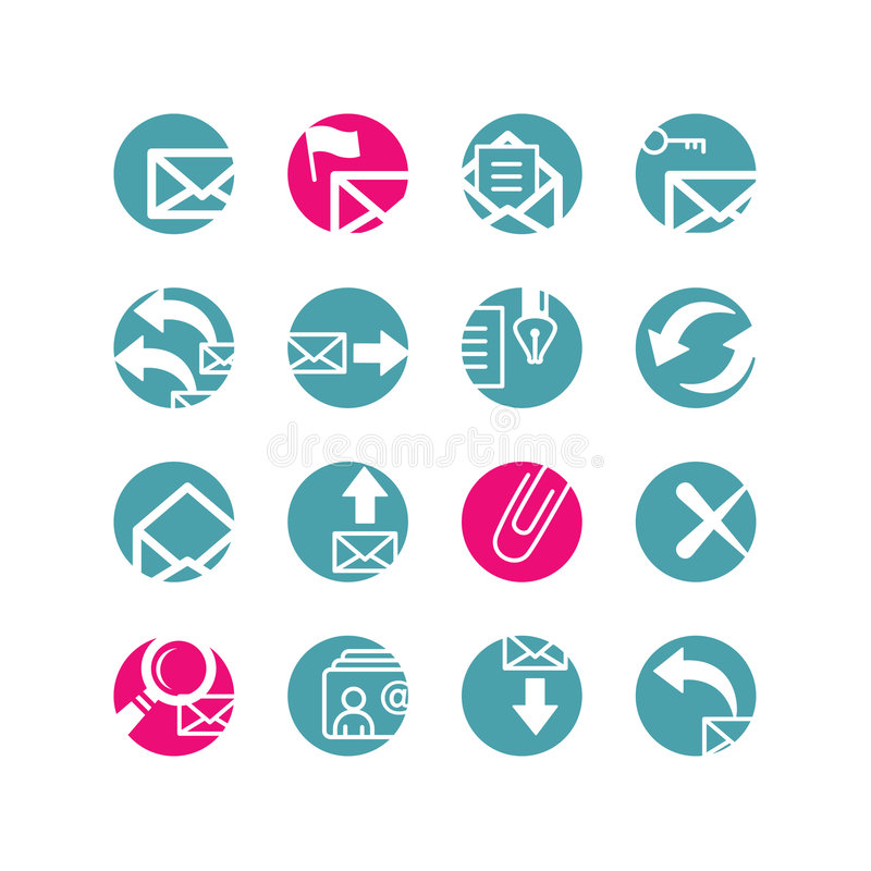 De pictogrammen van de cirkel e-mail stock illustratie