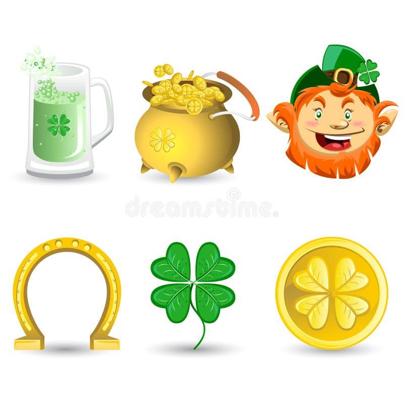 De Pictogrammen van de Dag van heilige Patrickâs stock illustratie