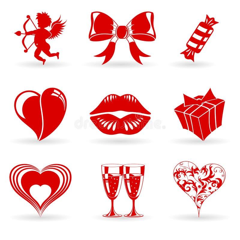 De Pictogrammen van de Dag van valentijnskaarten royalty-vrije illustratie