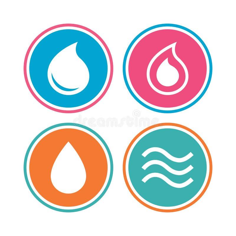 De Pictogrammen van de Daling van het water Scheur of Oliesymbolen vector illustratie