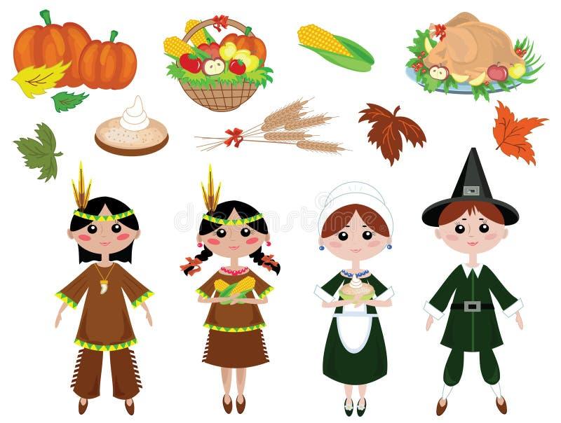 De pictogrammen van de dankzegging vector illustratie