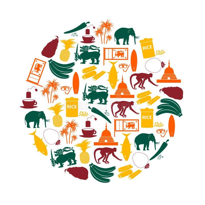 De pictogrammen van de de symbolenkleur van het land van Sri Lanka in cirkel eps10 vector illustratie