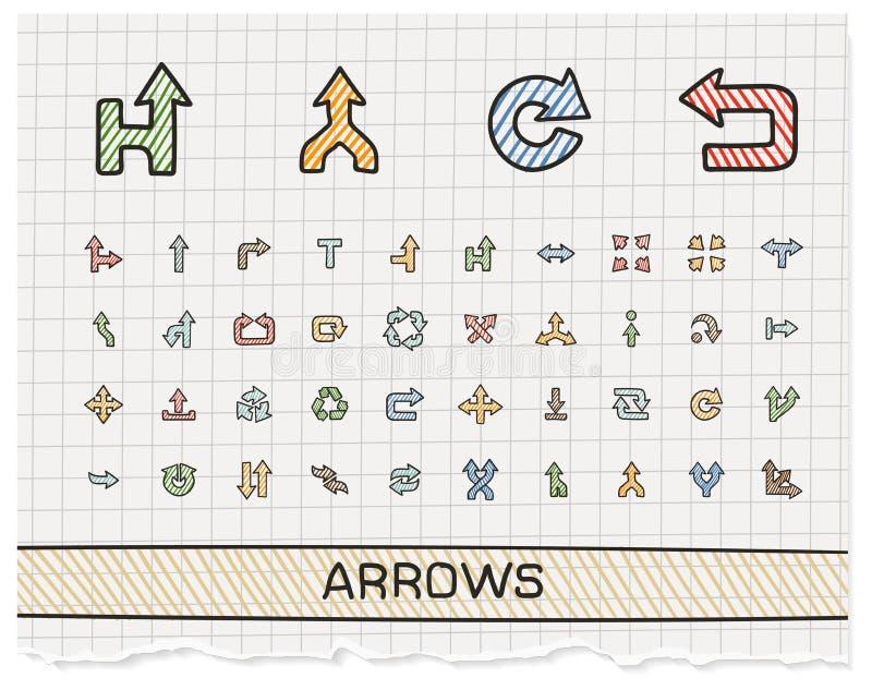 De pictogrammen van de de tekeningslijn van de pijlenhand stock illustratie