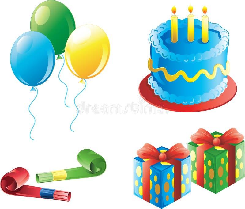 De pictogrammen van de de verjaardagspartij van de jongen royalty-vrije illustratie