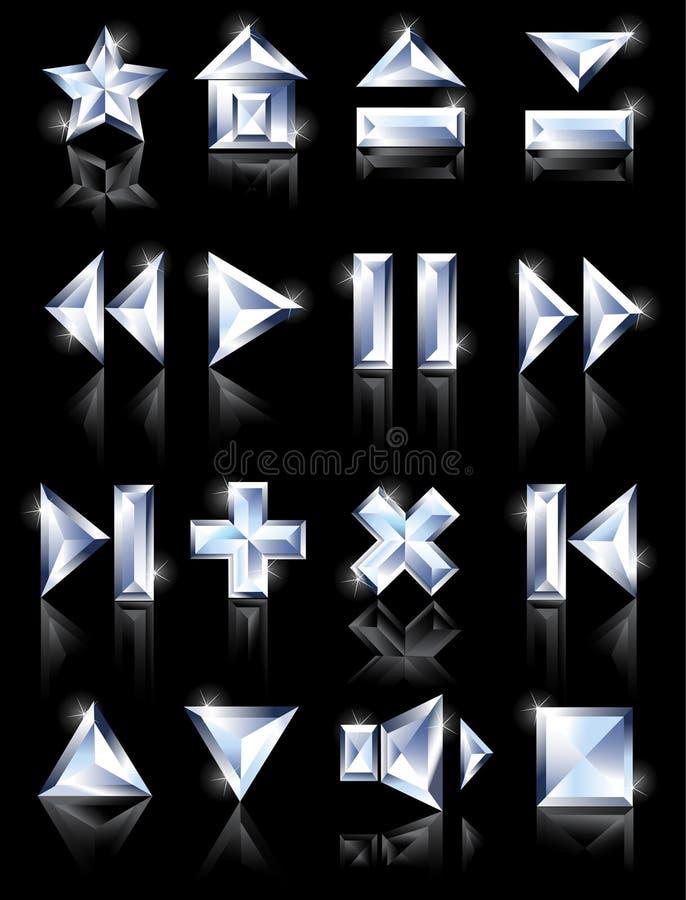 De pictogrammen van de diamant royalty-vrije illustratie