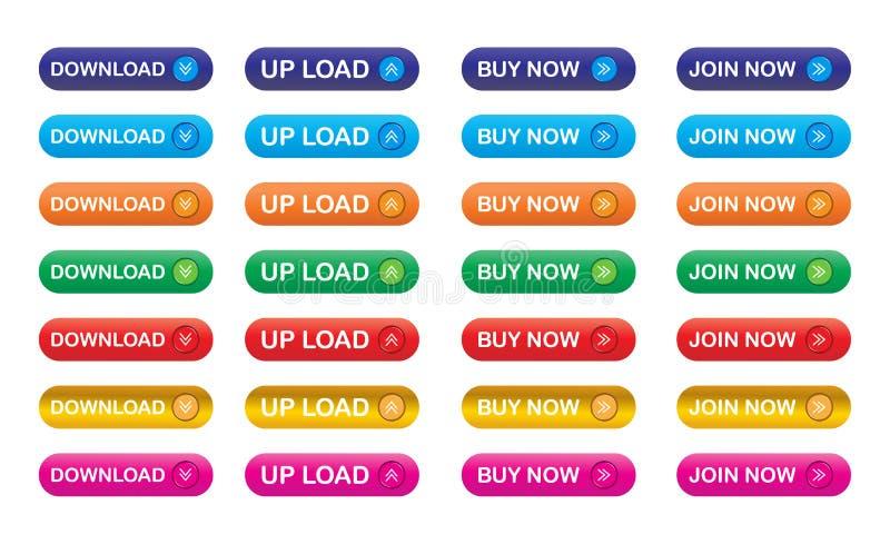 De pictogrammen van de download stock illustratie