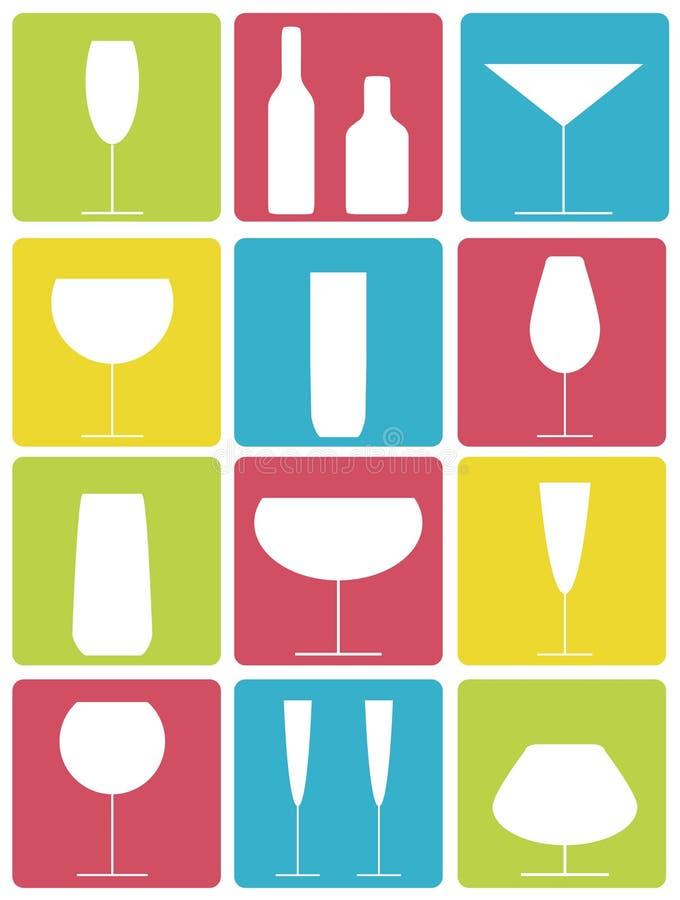 De pictogrammen van de drank royalty-vrije illustratie