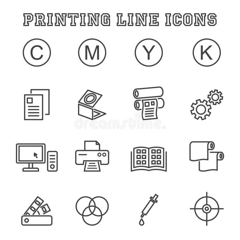 De pictogrammen van de druklijn royalty-vrije illustratie